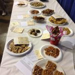 Seventeen peanut brittle entries waiting for the judges.